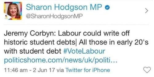 Sharon Hodgson tuition fees claim June 17