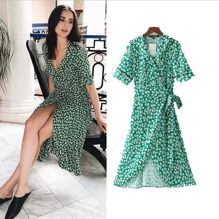 435b157e9262 Green Wrap Midi Dress Short Sleeve Floral Print Vintage UK 8 10 12 ...