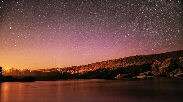 Northern Lights faintly visible along the Androscoggin River