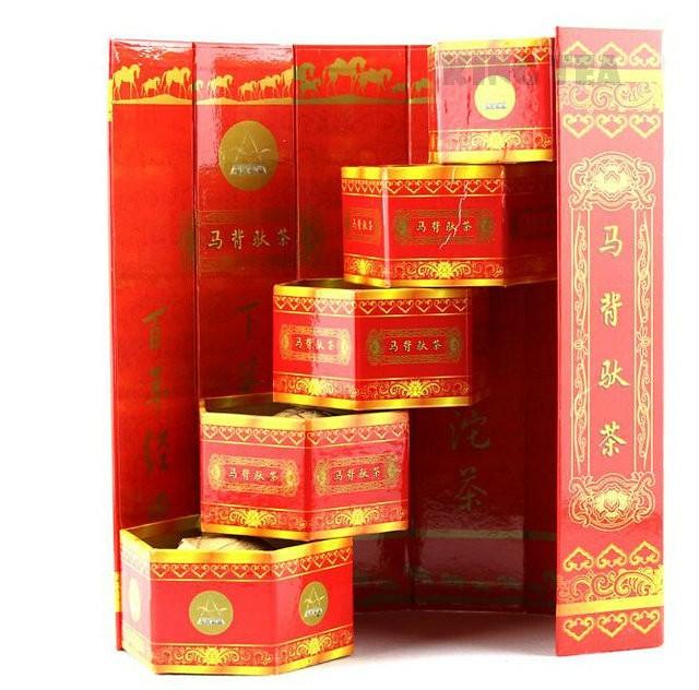 Free Shipping 2007 XiaGuan MaBei Red Boxed Tuo Bowl 100g*5pcs=500g YunNan MengHai Organic Pu'er Raw Tea Weight Loss Slim Beauty Sheng Cha