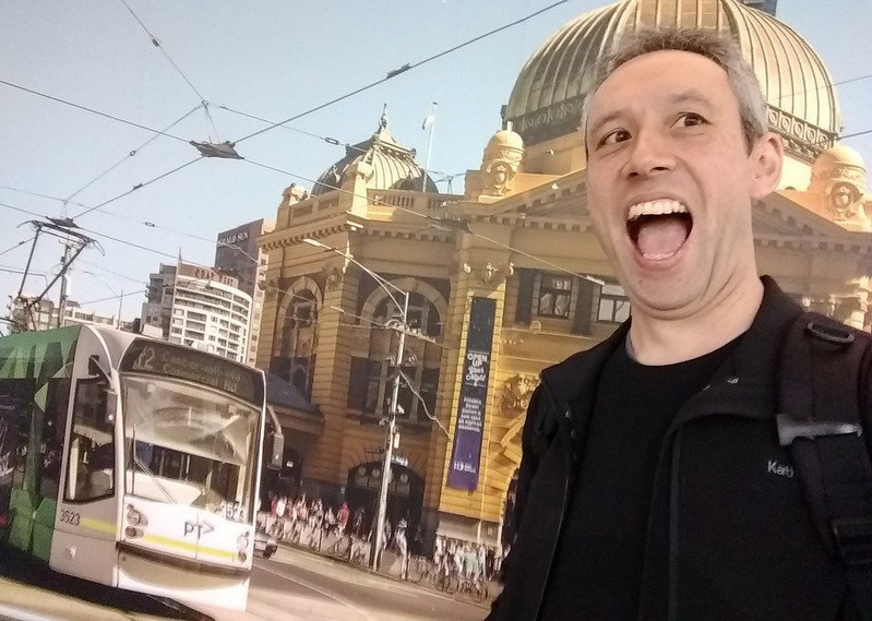 Silly selfie at Melbourne Airport; about to be over by a tram