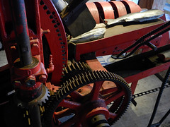 Red gears in Steveston Cannery, BC, Canada