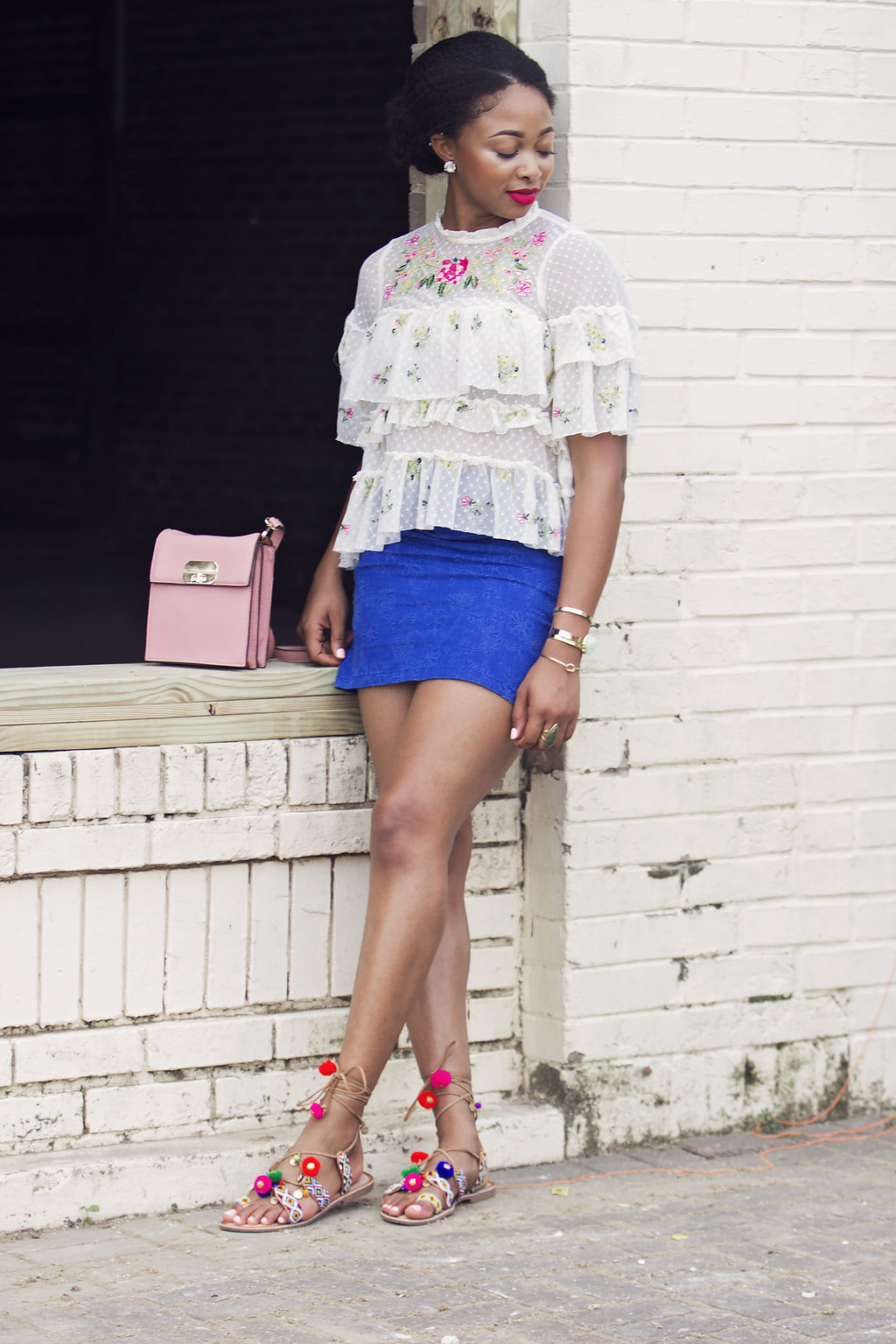 how to style a ruffled lace blouse, the beauty beau