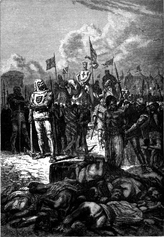 Massacre at Ayyadieh ordered by King Richard I. Alphonse de Neuville