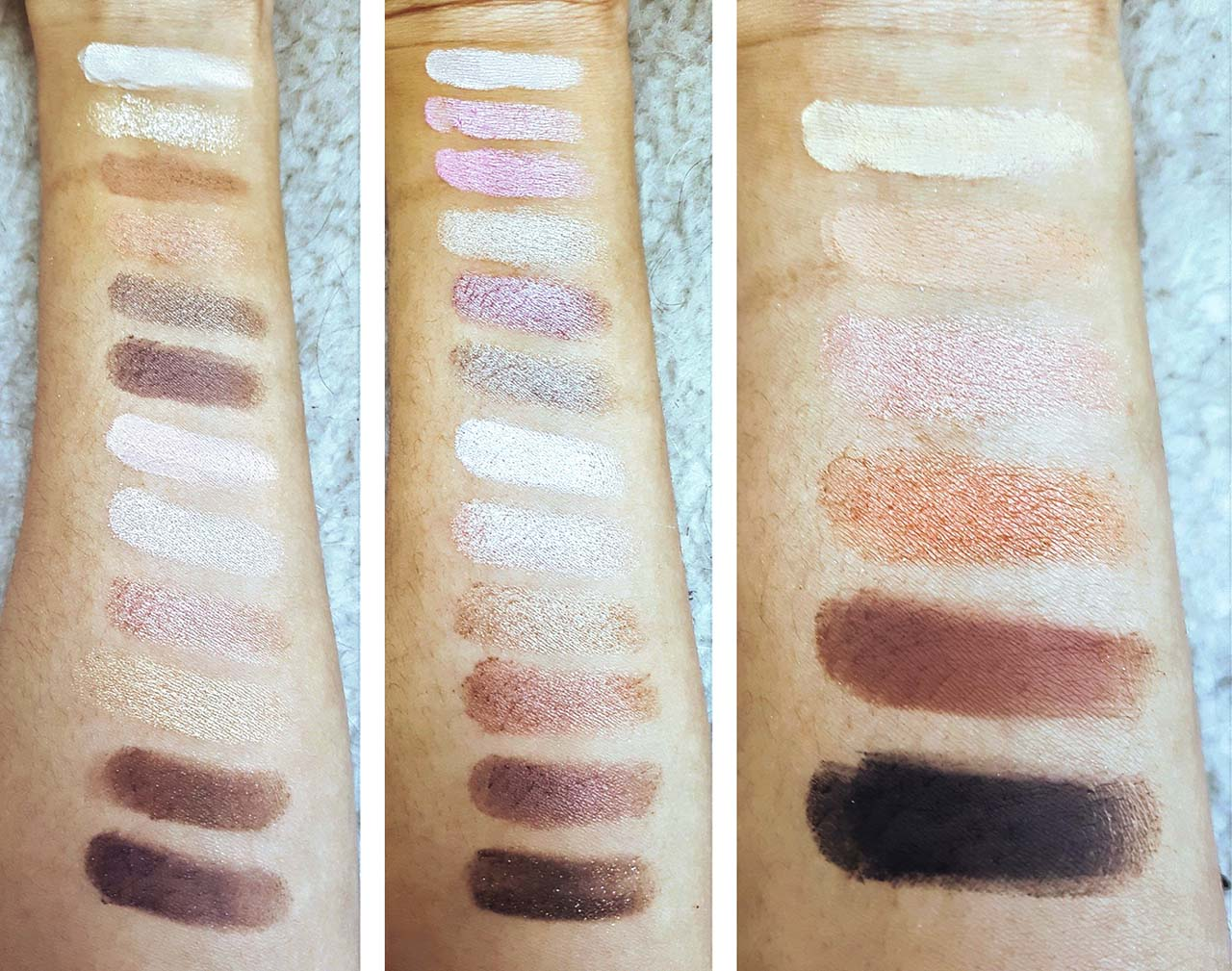 How Much Love Does The Too Faced Natural Love Palette Deserve: The first photo is rows 1 and 2 from the palette, the second photo is rows 3 and 4 and the third photo is row 5. I have tried to ensure all the colours are visible but photographs never do makeup justice! Most of the colours swatched well on the first swipe with only a couple of the lightest colours needing more. The shadows were very smooth and creamy and the shimmer and metallic shades gave proper glitter and shine pay off!