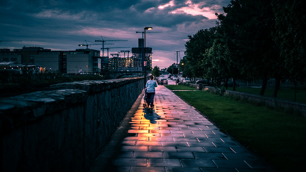 Walking the baby - Dublin, Ireland - Color street photography