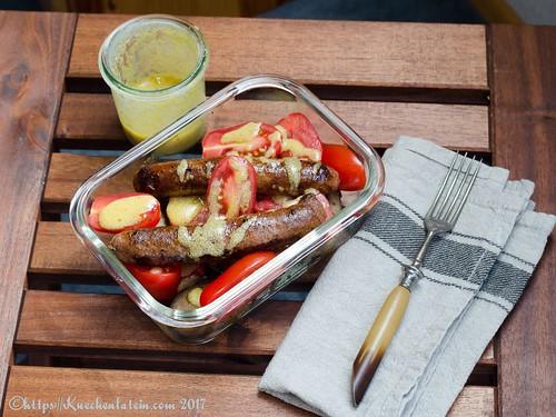 Tomato, chipolata and new potato lunch(box) with mustardy vinaigrette-2