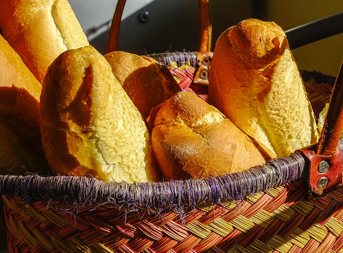 Fresh homemade bread in a wicker basket