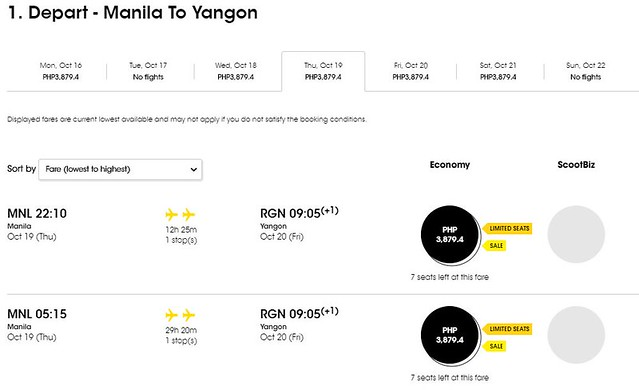 Manila to Yangon FlyScoot October Promo