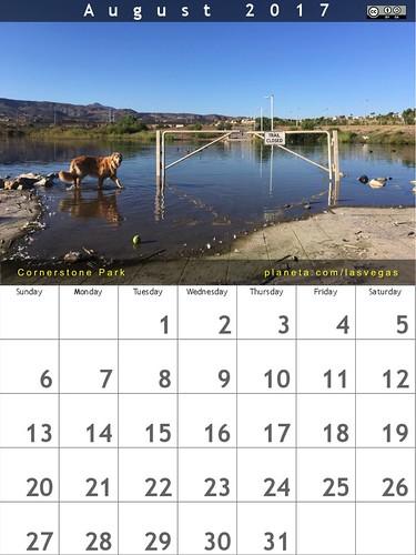 August 2017 Calendar (Cornerstone Park, Henderson, Nevada)