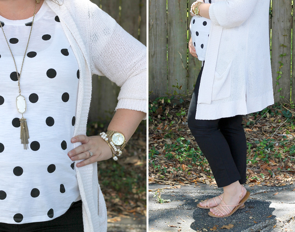 maternity black pants, white and black polka dot tee, long cream cardigan 1