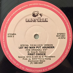 FIRST CHOICE:LET NO MAN PUT ASUNDER(REMIX)(LABEL SIDE-B)