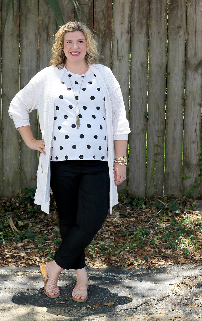 maternity black pants, white and black polka dot tee, long cream cardigan 4