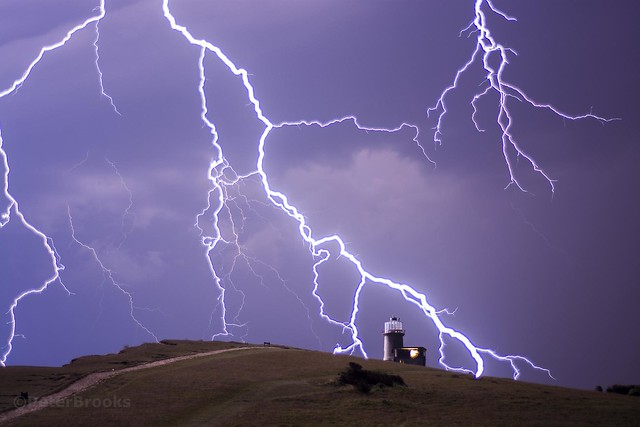 Belle Tout Lighthouse in a lightning Storm