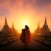 Monk hike Wat Phra Si Sanphet