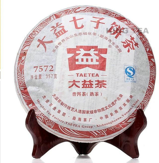 Free Shipping 2011 TAE TEA DaYi 7572 Beeng Cake 357g China YunNan MengHai Chinese Puer Puerh Ripe Tea Cooked Shou Cha Premium