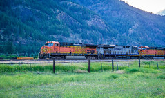 train moving through flathead reservation in montana mountains