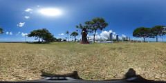 Statue of Marianne Cope at the Kewalo Basin overlooking Ala Moana, Waikiki and Diamond Head - a 360° Equirectangular VR