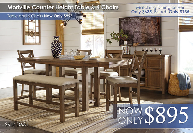 Moriville Counter Height Dining Set 4 Chairs D631-32-124(4)-09-60-R400131