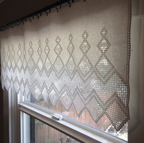 Finished hardanger curtain!