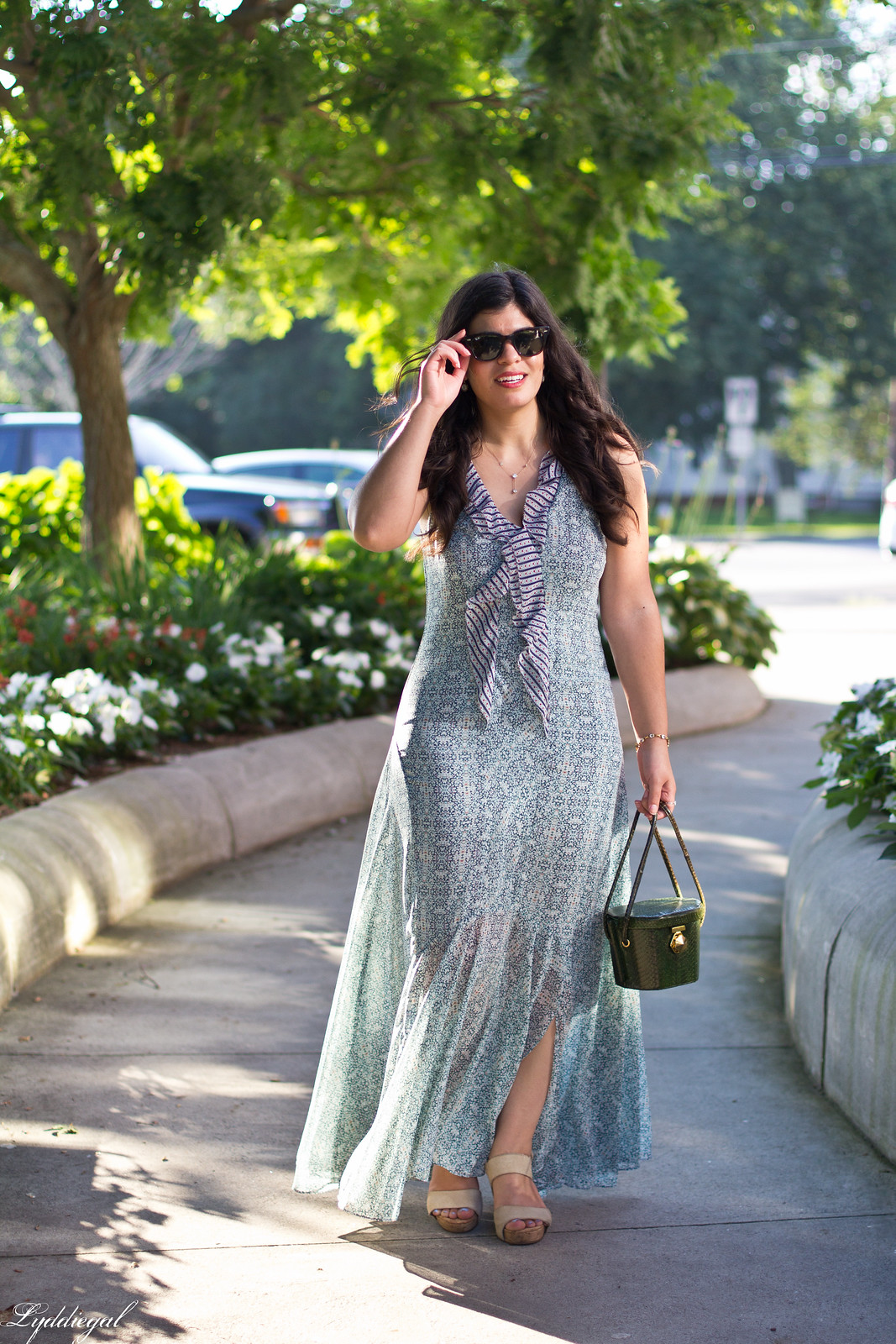 floral print maxi dress, green snakeskin box bag.jpg