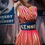 A Kennedy for President campaign dress on display at the JFK Library and Museum.