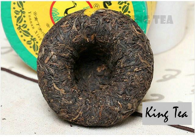 Free Shipping 2007 XiaGuan Golden Ribbon Boxed Tuo Bowl 100g * 5 =500g YunNan MengHai Organic Pu'er Raw Tea Weight Loss Slim Beauty Sheng Cha
