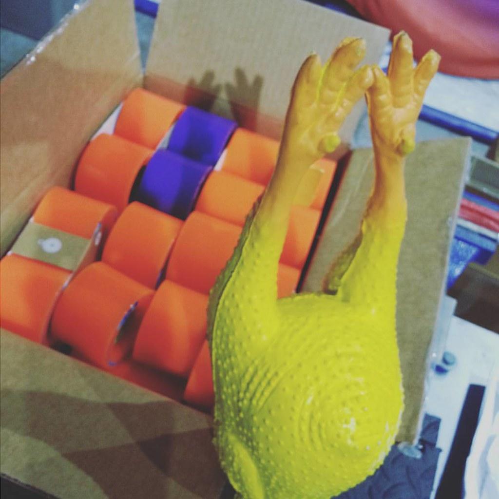 O'tangs and that friggin' chicken. #orangatangwheels #kegels #rubberchickenleague