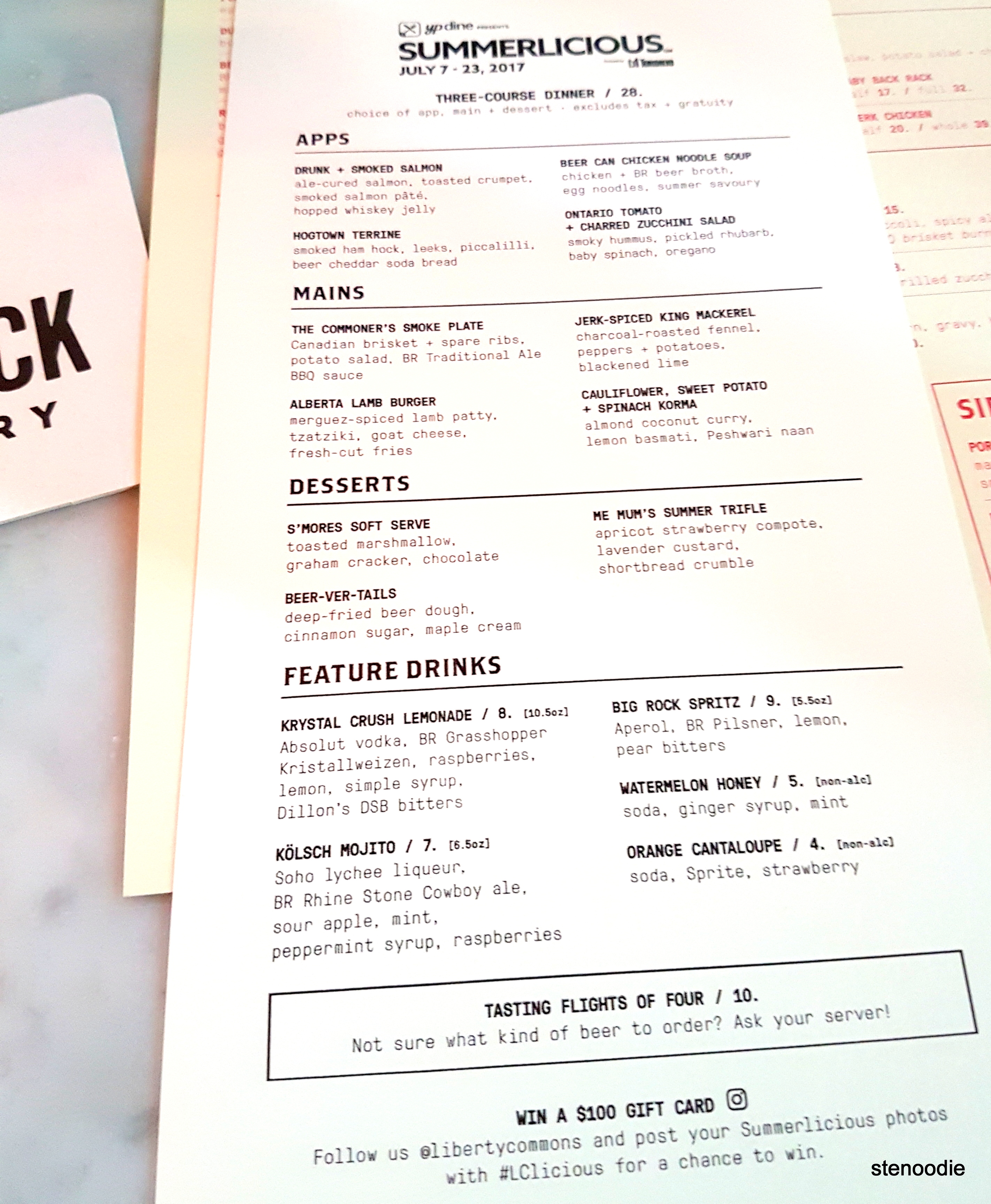 Liberty Commons at Big Rock Brewery Summerlicious 2017 dinner menu