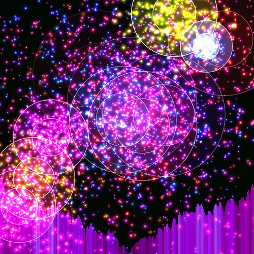 JS_Music Player_SS_(2017_08_01)_1_Cropped_1 HTML5 ミュージック プレイヤーのスクリーンショット画像。 黒い背景の上に多数の色とりどりの二重の光る円環があり、円環の中心からその円環と同色の多数の輝く粒子が放出されている。 画面の下方には音楽のスペクトラム アナライザーのヴィジュアライザーが描画されており、垂直の紫色のバーが多数横方向に並んで伸び縮みしている。 紫色のバーは明るさ色相に微妙なグラデーションが掛かっている。