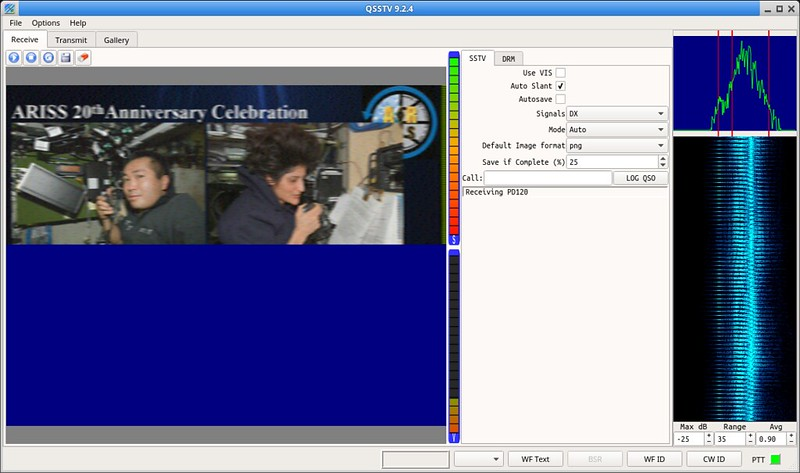 SSTV decode in progress with QSSTV
