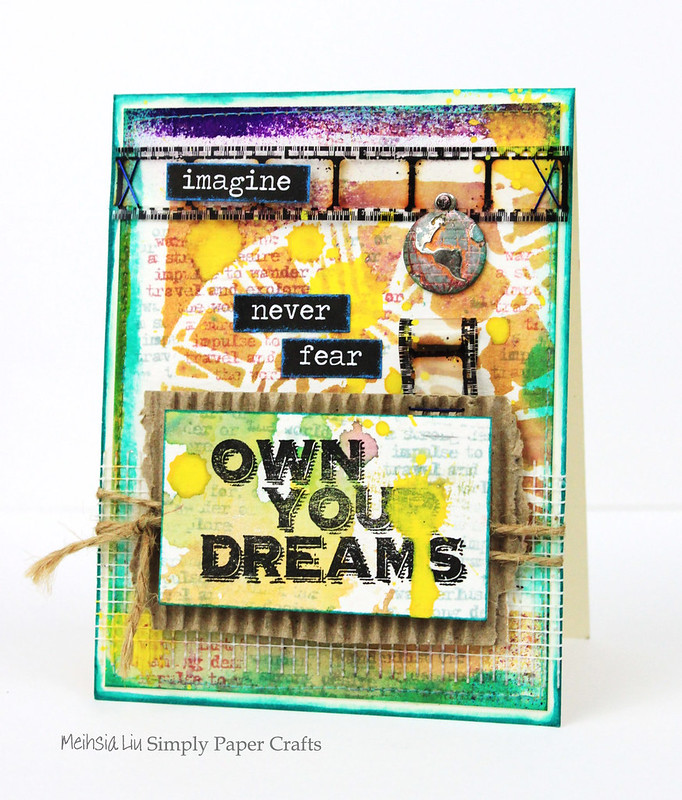 Meihsia Liu Simply Paper Crafts Mixed Media Sewing Edges Dream Simon Says Stamp Monday Challenge Tim Holtz 1