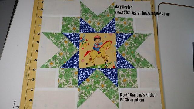 Block One for Grandma's Kitchen.  Pattern by Pat Sloan