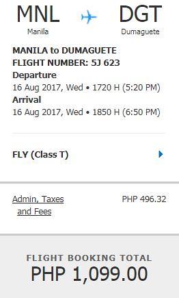 Manila to Dumaguete August 16, 2017 Promo