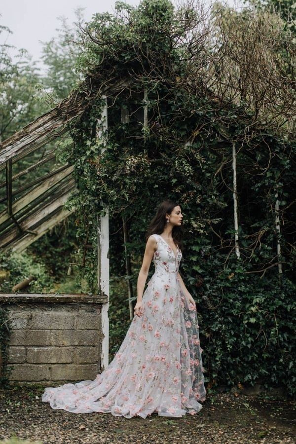 Beautiful Wedding Dresses Inspiration 2017/2018 : A-Line Wedding Dress with Pink Floral Appliques...