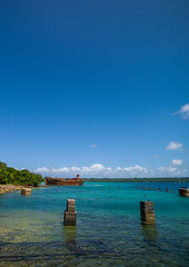 Million dollar point site where american military dumped goods off the beach at the end of World War Two , Espiritu Santo, Luganville, Vanuatu