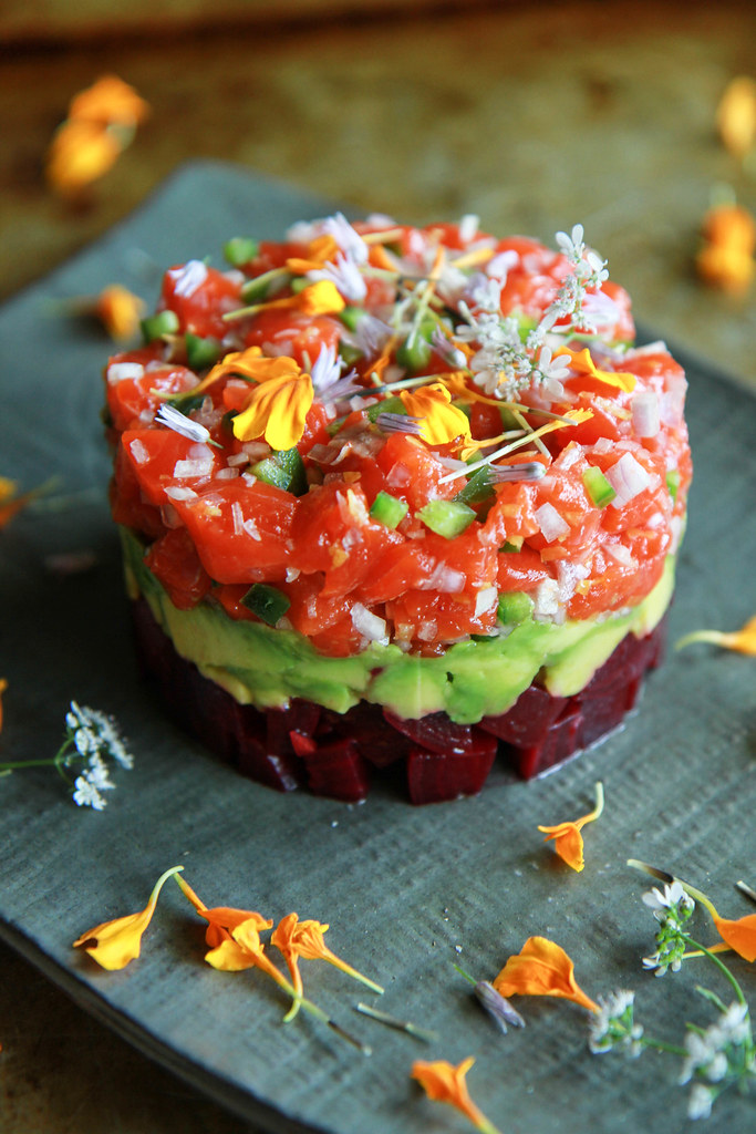 Salmon, Beet and Avocado Tartar from HeatherChristo.com