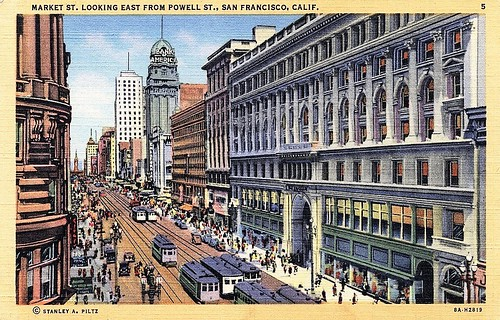 Market Street, San Francisco, vintage postcard, showing four tracks for streetcars