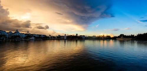 waltdisneyworld disneyworld disney yachtandbeachclub boardwalk sunset bluesky hurricanematthew clouds nikond810 nikon142428