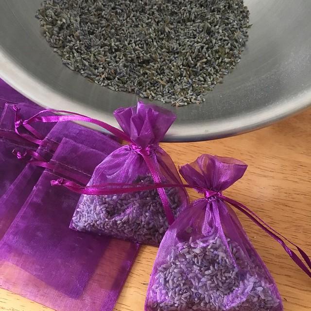 Homemade lavender sachets
