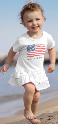 Our new Toddler American flag DRESSES! Customizable shirts and dresses for July 4th.