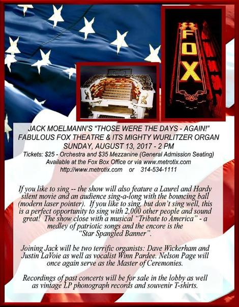 Fox Theatre Organ Concert 8-13-17