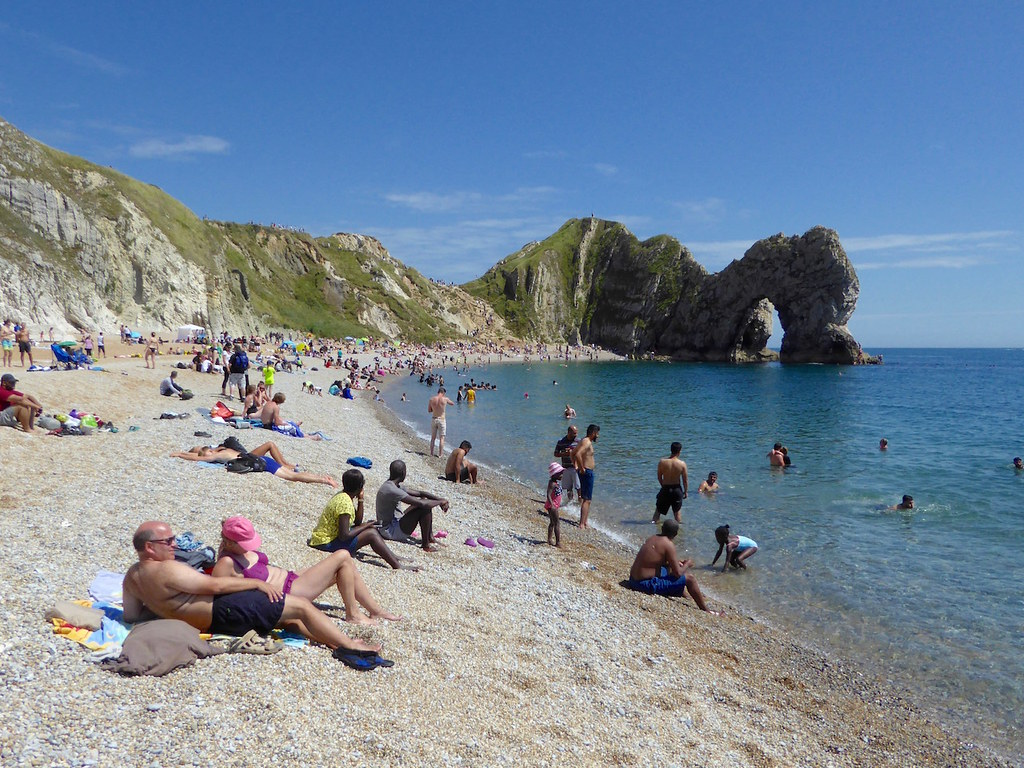 Durdle Door beach in high summer