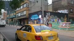 Bogotá streetscape with graffiti