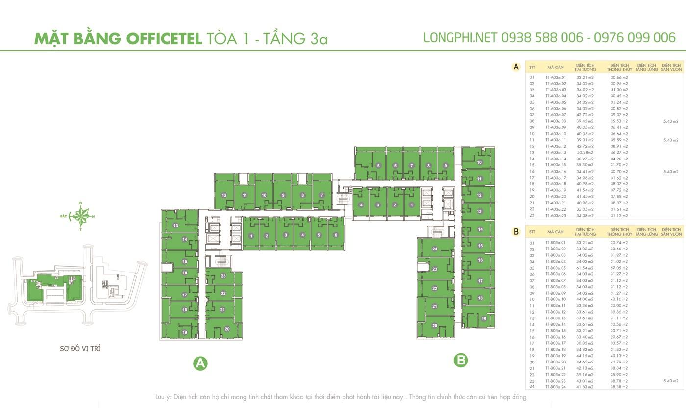 Mặt bằng căn hộ officetel M-One tầng 3A tháp T1.