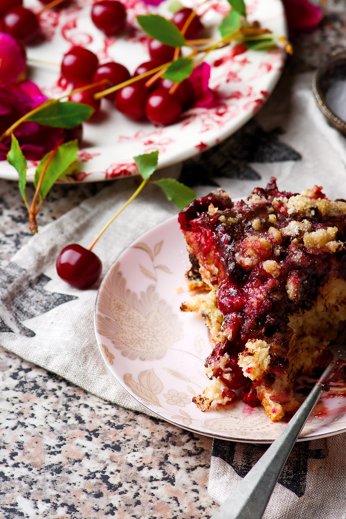 chocolate cherry cake with chocolate oat streusel.4