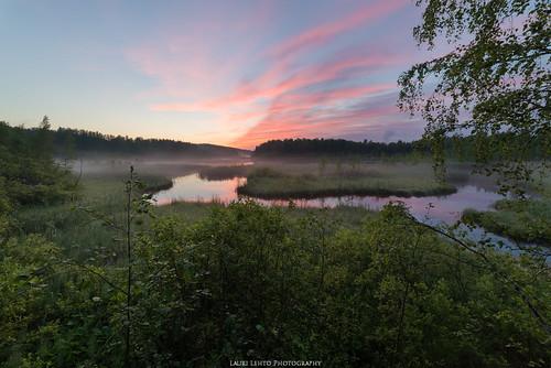 summer 2017 sunset clouds evening light landscape green grass trees pond fog mist nikon d610 samyang 14mm exposureblend suomi finland jyväskylä kortesuo rautpohja nature
