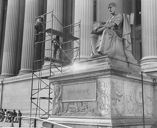 Photograph of the Cleaning of Statues on Pennsylvania Avenue