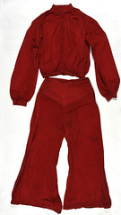Bottom half of red silk pyjama suit produced as evidence in Rex v Austin S</span><br><span class=