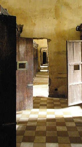 Hallway through the Genocide Museum in Phnom Penh